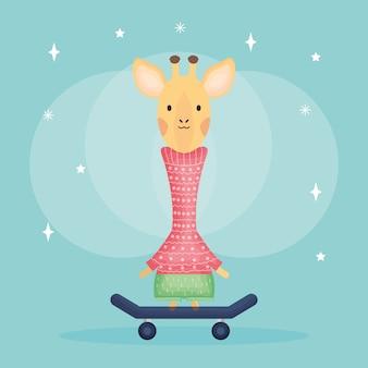 Carino femmina giraffa nel personaggio di skateboard