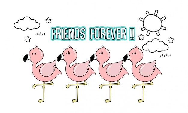 Carino fenicottero rosa con i suoi amici.