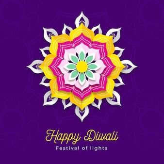 Carino fiore tradizionale diwali in stile carta