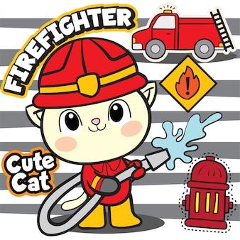 Carino gatto pompiere
