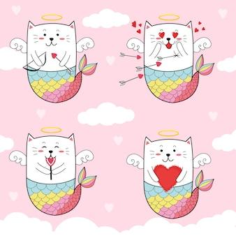 Carino gatto sirena cupido per il giorno di san valentino.