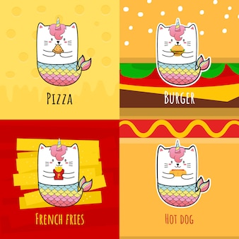 Carino gatto sirena unicorno mangiare hot dog