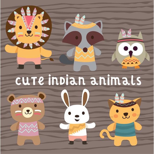 Carino indiano nativi americani animali