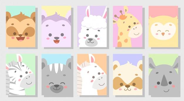 Carino insieme di animali felice