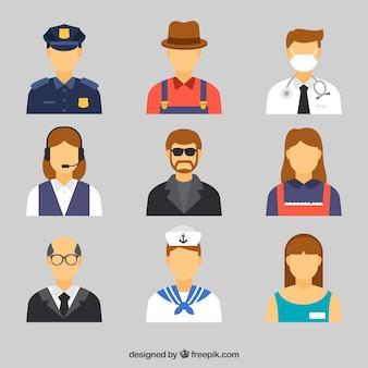 Carino insieme di avatar con diversi posti di lavoro