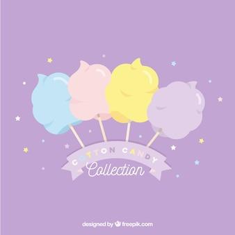 Carino insieme di caramelle colorate di cotone