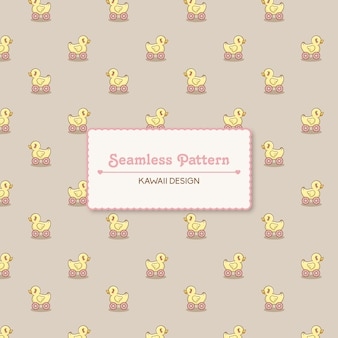 Carino kawaii toy duck trasparente seamless pattern