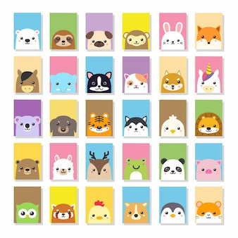 Carino kawii animal card disegno vettoriale