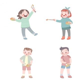 Carino lavoro di pittore bambini con palette e collezione di pennelli