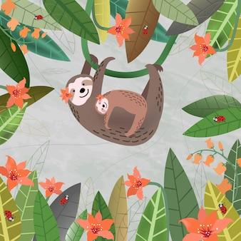 Carino mamma e bambino bradipo con fiori e foglie.