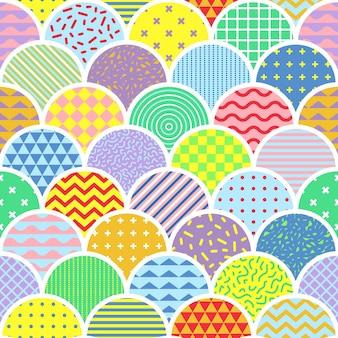 Carino memphis shell seamless pattern