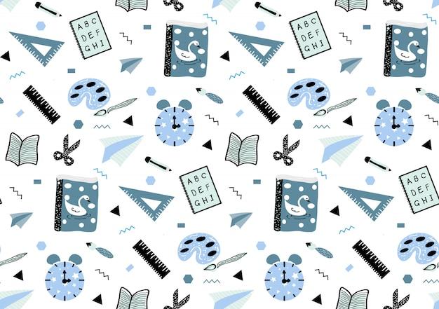 Carino modello infantile senza soluzione di continuità con scuola disegnata a mano necessaria in stile bianco e blu.