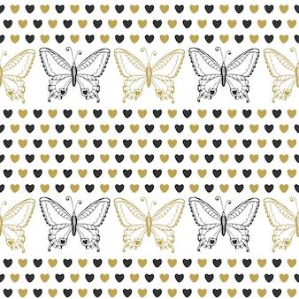 Carino modello senza saldatura con farfalle e cuori nero e oro colori