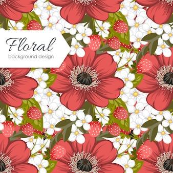 Carino motivo floreale con fiori colorati