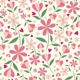 Carino motivo floreale e cuori senza soluzione di continuità