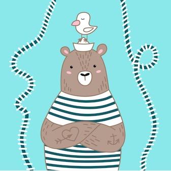 Carino orso marinaio sul blu