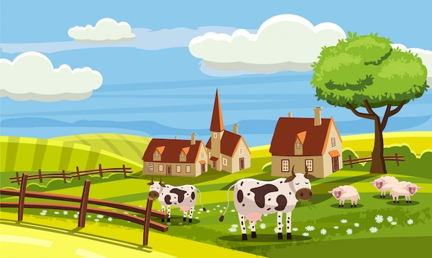 Carino paesaggio rurale con fattoria e simpatici animali in stile cartoon