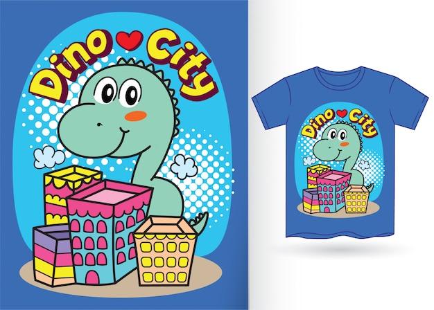 Carino piccolo cartone animato dino per maglietta