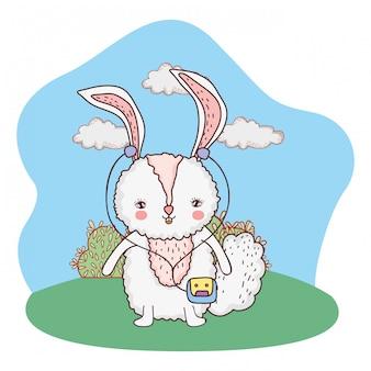 Carino piccolo coniglio con walkman nel parco
