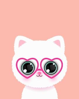 Carino piccolo gatto con gli occhiali