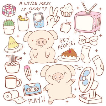 Carino piccolo maiale doodle