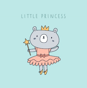 Carino piccolo orso principessa in corona e vestito rosa isolato sulla menta