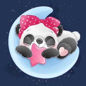 Carino piccolo panda che dorme nella luna