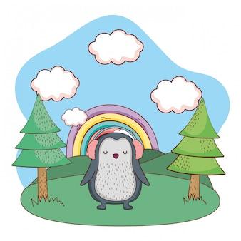 Carino piccolo pinguino con auricolari nel parco