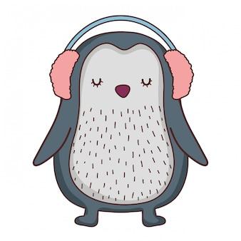 Carino piccolo pinguino con auricolari