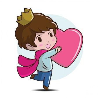 Carino piccolo principe abbraccio il cuore., concetto di cartone animato fiaba.