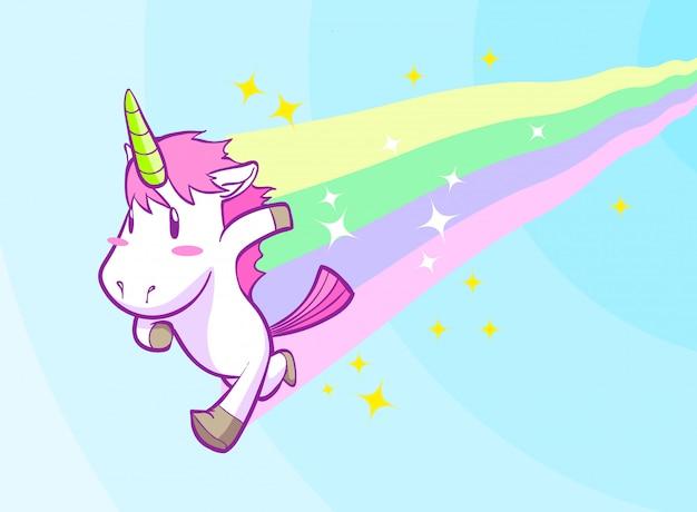 Carino piccolo sfondo in esecuzione unicorno