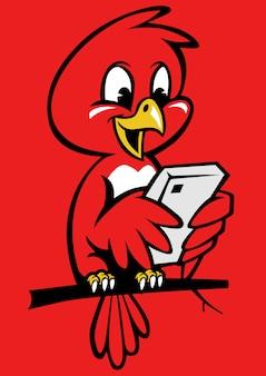 Carino piccolo uccello utilizzando il telefono