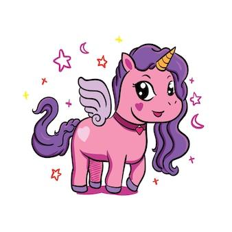 Carino piccolo unicorno magico viola. disegno vettoriale illustrazione di disegno a mano romantico per i bambini