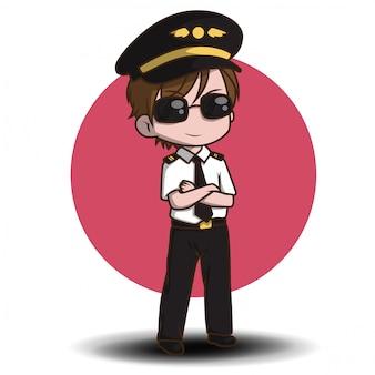 Carino pilota vettoriale. personaggi dei cartoni animati