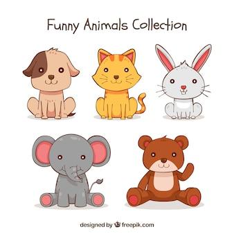 Carino raccolta di animali disegnati a mano