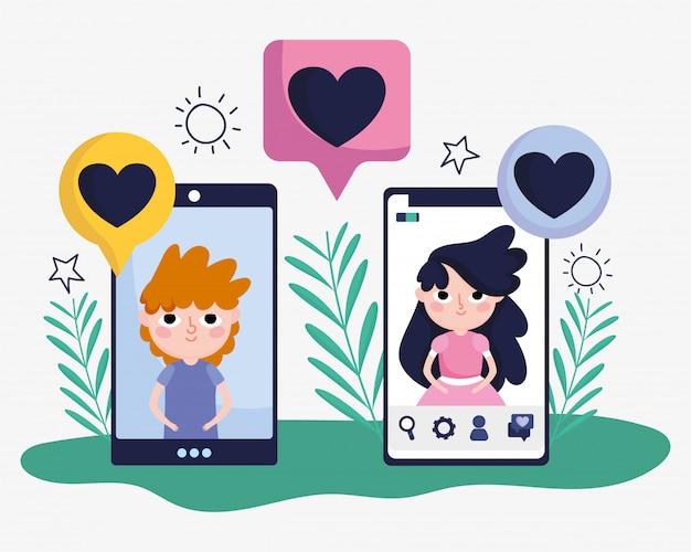 Carino ragazza e ragazzo smartphone chat amore romantico social media