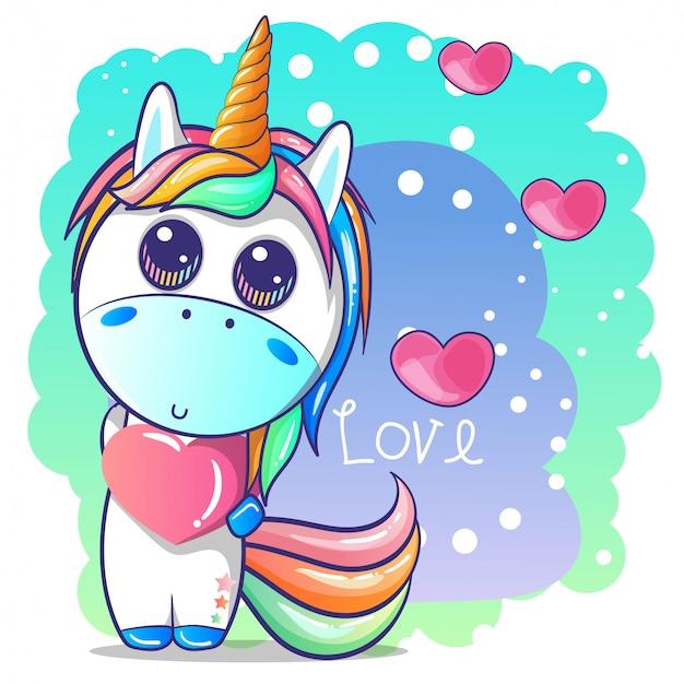Carino ragazza felice unicorno