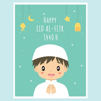 Carino ramadan eid al fitr card. vettore della carta del ragazzo musulmano ramadan