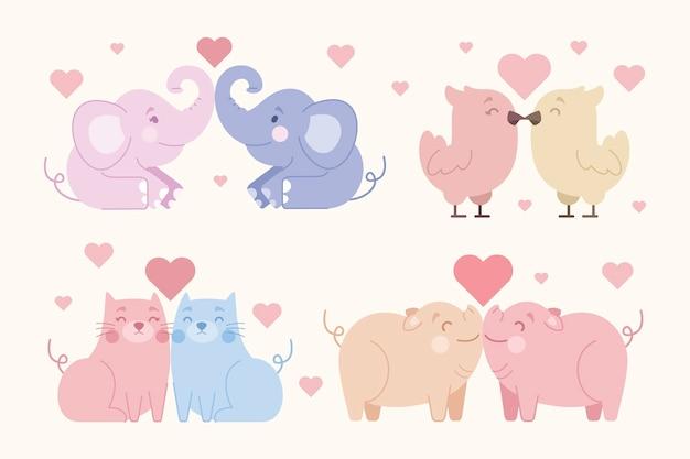 Carino san valentino coppia di animali