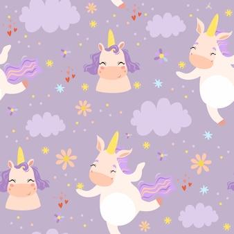 Carino seamless con unicorni tra le nuvole