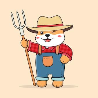Carino shiba inu farmer
