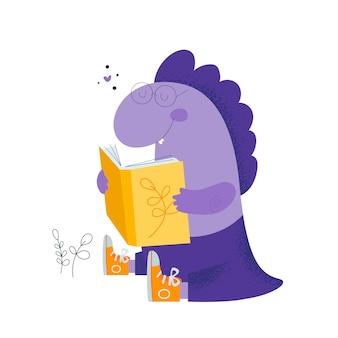 Carino simpatico bambino di dinosauro. rettile studente bambino. l'amore legge i libri.
