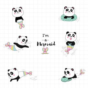 Carino sirena panda nuotare in piscina.
