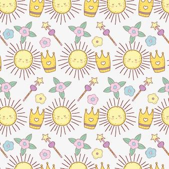 Carino sole con la bacchetta magica stella e lo sfondo di fiori