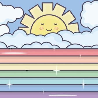 Carino sole estivo e nuvole con personaggi kawaii arcobaleno
