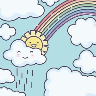 Carino sole estivo e nuvole piovose con personaggi kawaii arcobaleno