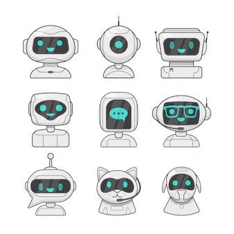 Carino sorridente chat bot di lavoro
