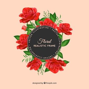 Carino telaio realistico con rose rosse