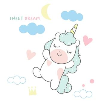 Carino tempo di sonno all'unicorno