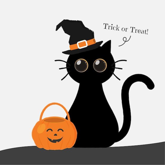 Carino tondo occhi gatto di halloween con lanterna.